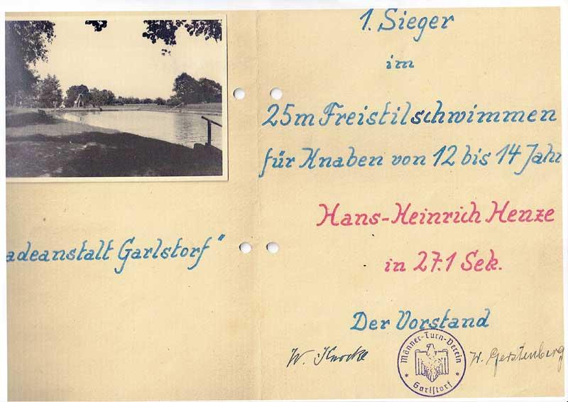 Hans-Heinrich Henze - Schwimmfest-Urkunde 1949