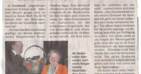Zeitungsausschnitt 2008 - Irmi Harms geht in Ruhestand